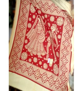 Beautiful Hapur Handloom Cotton Printed Bedsheet with Pillow Cover for Double Bed