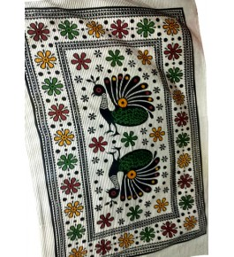 Beautiful Hapur Handloom Cotton Peacock Printed Bedsheet in Multicolor for Single Bed