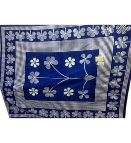 Hapur Handloom Cotton Flower Printed Bedsheet with Pillow Cover for Double Bed