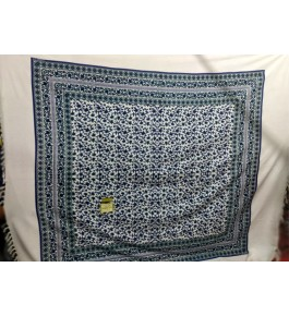 Beautiful Hapur Handloom Cotton Bedsheet in Blue & White Color with Pillow Cover for Double Bed