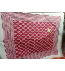 Beautiful Hapur Handloom Cotton Bedsheet in Red & White Color with Pillow Cover for Double Bed