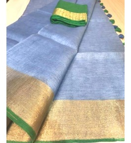 Handloom Bhagalpur Silk Blue Designer Saree for Women