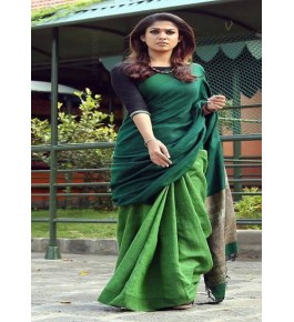 Handloom Bhagalpur Silk Green Plain Designer Saree For Women