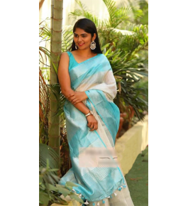 Handloom Bhagalpur Silk Fancy Sky Blue Designer Saree for Women