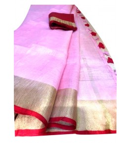 Handloom Bhagalpur Light Pink with Golden Border Designer Saree for Women