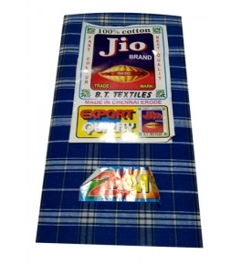 Tanda Ambedkar Nagar Textile Cotton Blue Check Lungi For Men