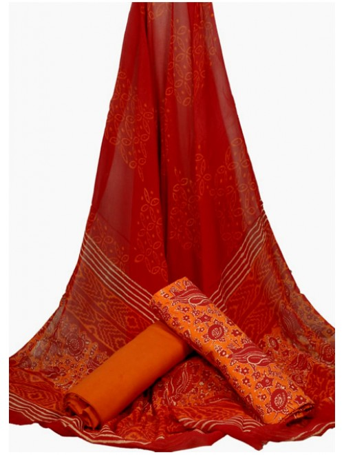 Bagru Hand Block Print Soft Designer Beautiful Orange Cotton Saree for Women