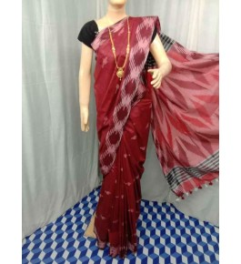 Beautiful Handmade Bhagalpur Red Colour Cotton Khadi Ekkat Pallu Saree By Radha Swami Handloom