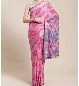 Beautiful Handmade Bhagalpur Pink Colour Floral Design Cotton Khadi Ekkat Pallu Saree By Radha Swami Handloom