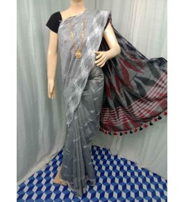 Beautiful Handmade Bhagalpur Silver Colour Cotton Khadi Ekkat Pallu Saree By Radha Swami Handloom