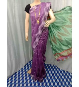 Beautiful Handmade Bhagalpur Purple Colour Floral Design Cotton Khadi Ekkat Pallu Saree By Radha Swami Handloom