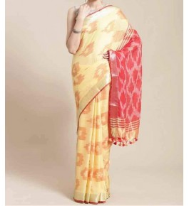 Beautiful Handmade Bhagalpur Light Yellow Colour Cotton Khadi Ekkat Pallu Saree By Radha Swami Handloom