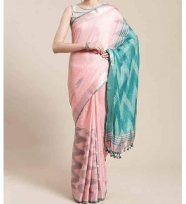 Beautiful Handmade Bhagalpur Baby Pink Colour Cotton Khadi Ekkat Pallu Saree By Radha Swami Handloom