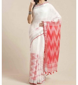Beautiful Handmade Bhagalpur White Colour Cotton Khadi Ekkat Pallu Saree By Radha Swami Handloom