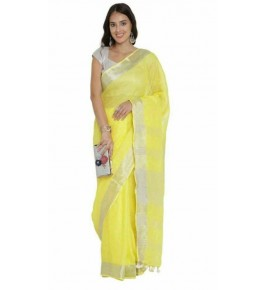 Delightful Handmade Bhagalpur Lemon Colour Simple Cotton Saree By Radha Swami Handloom