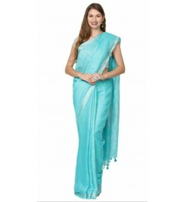 Delightful Handmade Bhagalpur Blue Colour Simple Cotton Saree By Radha Swami Handloom