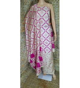 Traditional Handloom Bhagalpur Cotton Dupik Suit Design In Pink And White Colour Floral Pattern