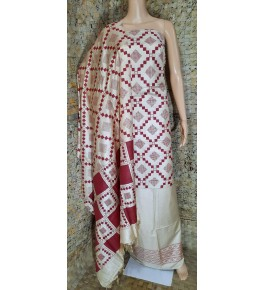 Traditional Handloom Bhagalpur Cotton Dupik Suit Design In Red And Cream Colour Floral Pattern