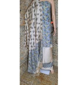 Traditional Handloom Bhagalpur Cotton Dupik Suit Design In Blue And White Colour Floral Pattern