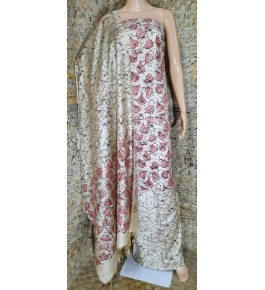 Traditional Handloom Bhagalpur Cotton Dupik Suit Design In Red And Cream Colour Floral Pattern Material