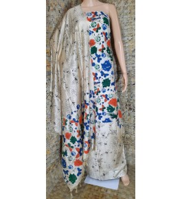 Traditional Handloom Bhagalpur Cotton Dupik Suit Design In Multicolour Butterfly Pattern