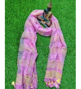 Traditional Handloom Bhagalpur Cotton Silk Beautiful Pink Colour Dupatta For Women