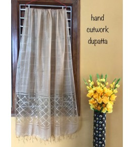 Traditional Handloom Bhagalpur Cotton Silk Beautiful Light Golden Colour Shining Dupatta For Women