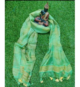 Traditional Handloom Bhagalpur Cotton Silk Beautiful Green Colour Shining Dupatta For Women
