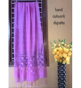 Traditional Handloom Bhagalpur Cotton Silk Beautiful Purple Colour Shining Dupatta For Women