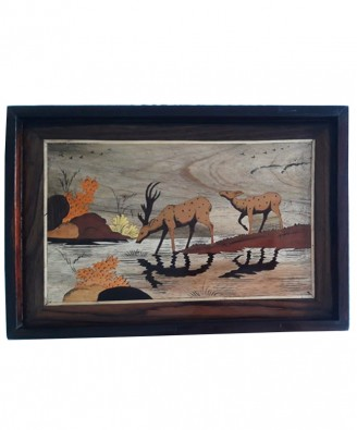 Traditional Handicraft Mysore Rosewood Inlay Wooden Painting Group Of Deer Wall Decor