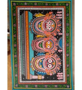 Delightful Handmade Lord Jagannath, Subhadra, And Baldhau Colourful Orissa Pattachitra Painting For Wall Decoration