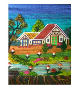 Handmade Patchwork House Design Ghazipur Wall Hanging