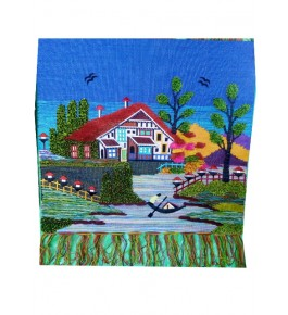 Handmade Beautiful House Design Patchwork Ghazipur Wall Hanging