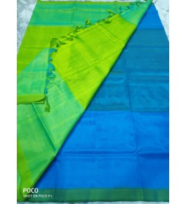 Mangalagiri Green & Blue Saree For Women