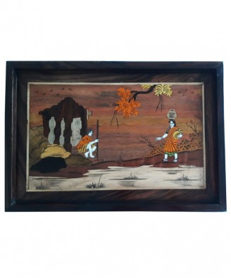 Traditional Handicraft Mysore Rosewood Inlay Wooden Painting Of Two Women For Wall Decor