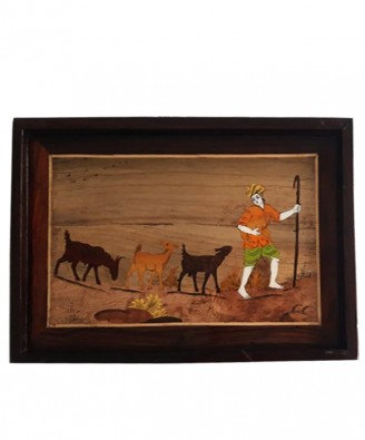 Traditional Handicraft Mysore Rosewood Inlay Wooden Painting Of Cattle Man Wall Decor