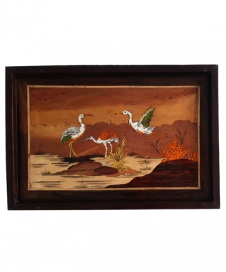 Traditional Handicraft Mysore Rosewood Inlay Wooden Painting Group Of Ostrich Wall Decor