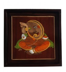Traditional Handicraft Mysore Rosewood Inlay Wooden Beautiful Painting Of Lord Ganesha For Wall Decor