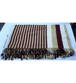 Cannanore Home Furnishings Handloom Rayon Brown & Beige Double Bedsheet With Pillow Covers for Home Decor