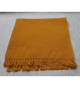 Cannanore Home Furnishings Handloom Mustard Colour Honeycomb Bath Towel for Water Absorbtion