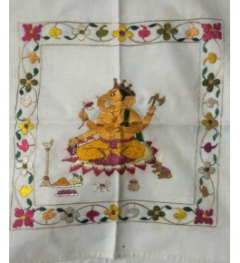 Traditional Handwoven Silk Thread Embroidered Lord Ganesha Design On Chamba Rumal For Decor Purpose