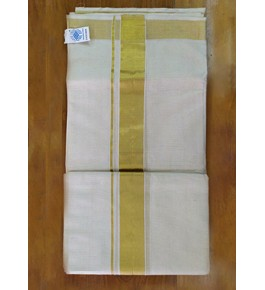 Delightful Handloom White Colour Chendamangalam Dhoti With Pure Golden Border For Ethnic Wear