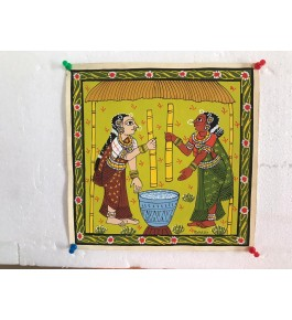 Handicraft Epic Cheriyal Painting Of Beautiful Women Grinding And Mixing Spices