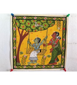 Handicraft Epical Cheriyal Painting Of Beautiful Women Playing And Swinging Swing