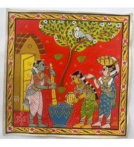 Customary Handmade Cheriyal Painting Of Two Beautiful Women Grinding Spices