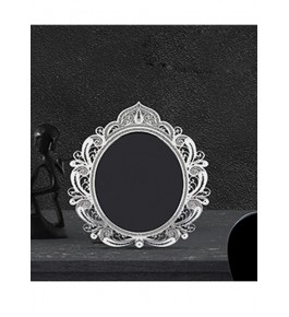 Rounded Mirror Frame Silver Filigree  of Karimnagar 120gm for Home Decor