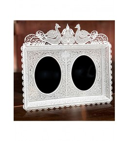Two Sided Round Shaped Mirror Frame Silver Filigree  of Karimnagar 550gm for Home Decor