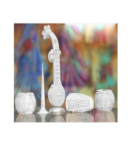 Amazing Musical Instrument Table set Silver Filigree of Karimnagar 14000gm for Home Decor