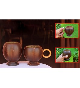 Eco- Friendly Mug of Brass Broidered Coconut Shell Crafts of Kerala with Handle (Set of 2 pcs)