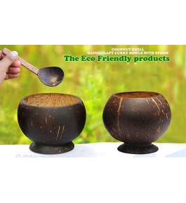 Eco-Friendly Curry Bowls with Spoon of Brass Broidered Coconut Shell Crafts of Kerala (Set of 2)